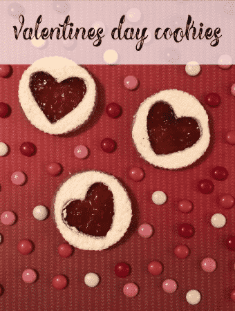 valentine's day cookies with red background