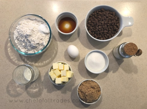 Worlds Greatest Chocolate Chip Cookie ingredients in bowls on countertop