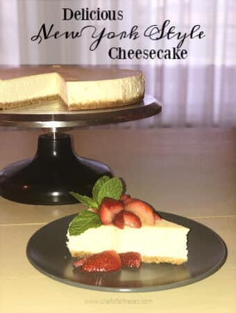 New York Style Cheesecake with strawberries and mint