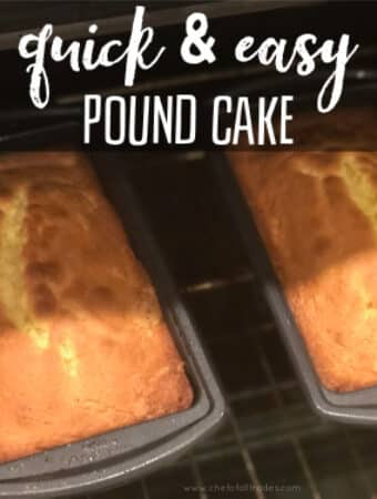 Baked pound cake in an oven