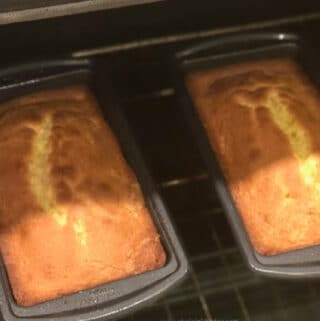 Quick & Easy Pound Cake in the oven