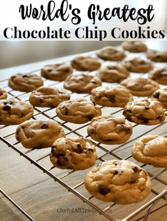 The world's best chocolate chip cookies cooling on a cooling rack.