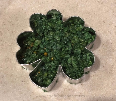 four-leaf clover shaped rice cereal treat