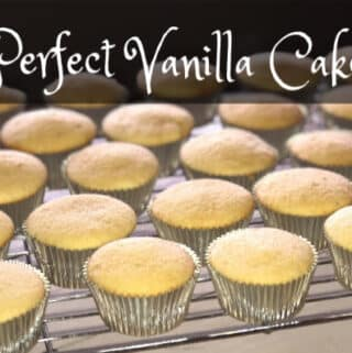 Vanilla cupcakes on a cooling rack