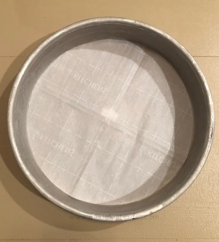 parchment lined cake pan