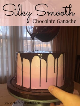 Silky Smooth Chocolate Ganache bring drizzled over a cake