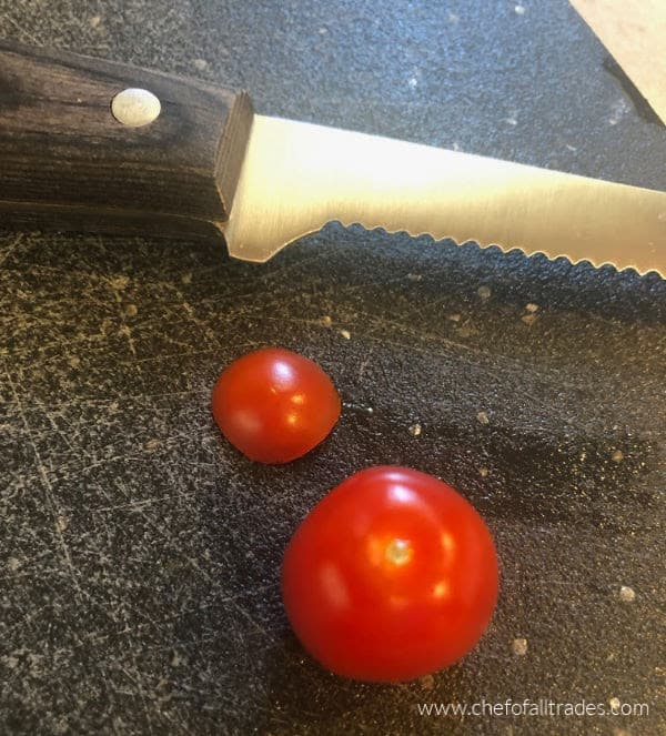 Tomatoes with the bottoms sliced off