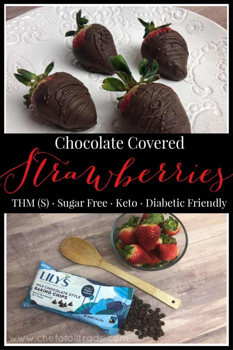 Pinterest Image of ingredients and finished chocolate covered strawberries