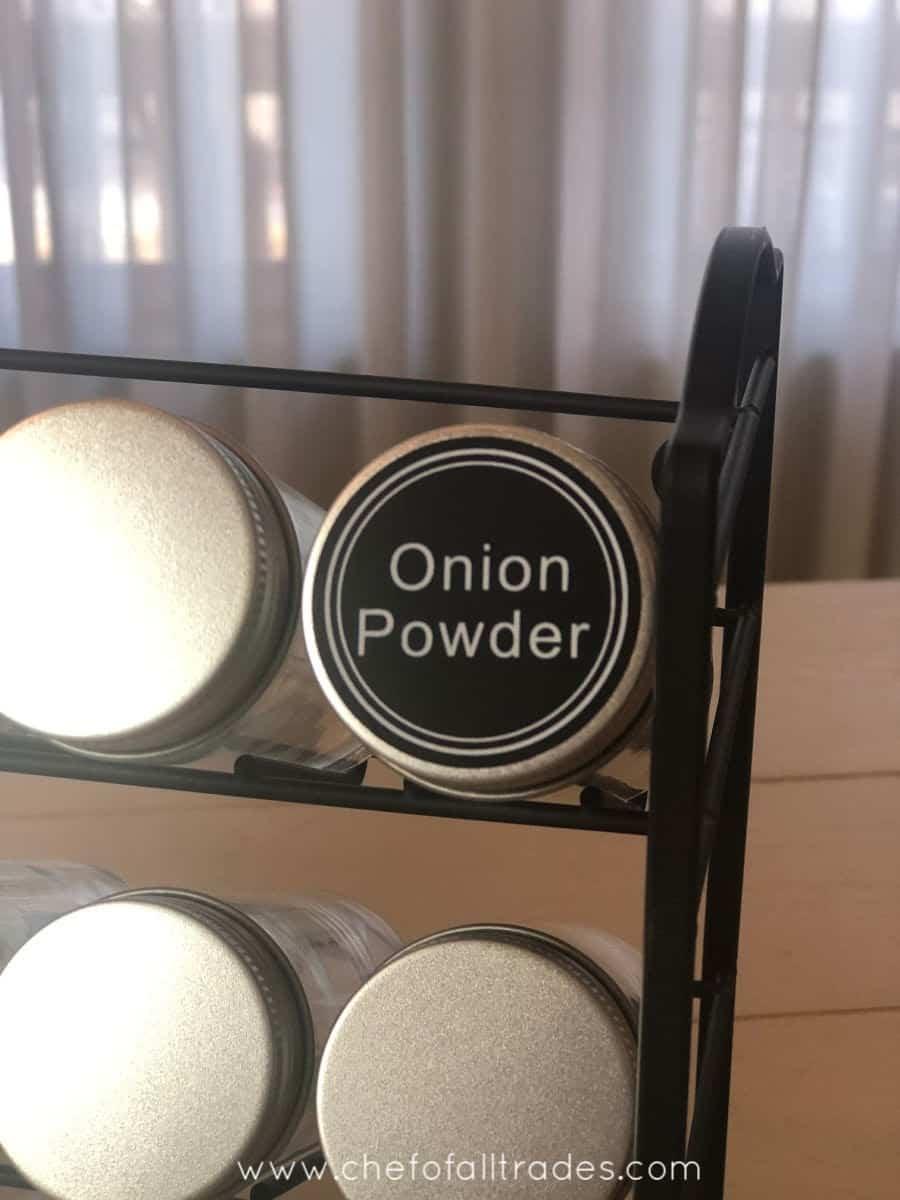 spice jar with label onion powder
