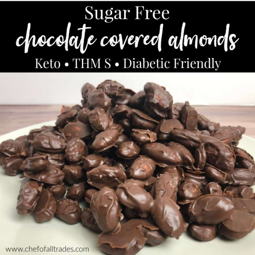 chocolate covered almonds in a pile