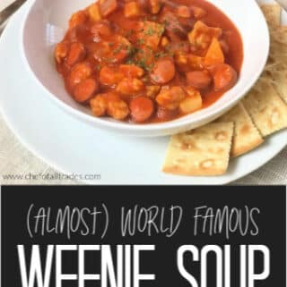 Weenie Soup in a white bowl