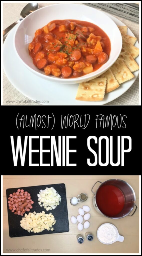 weenie soup in a bowl and all it's ingredients in a picture below