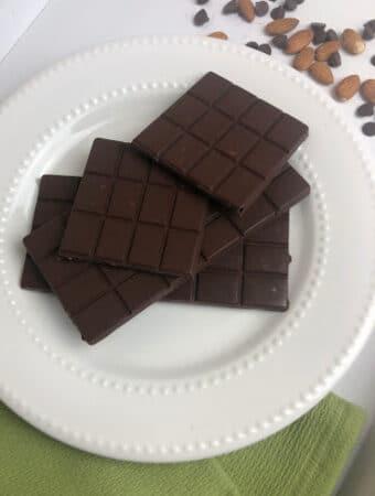 homemade chocolate bars on a white plate