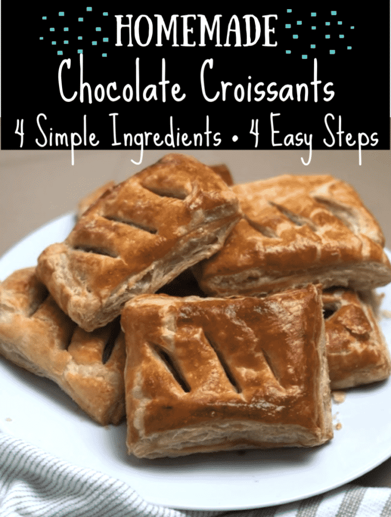 Homemade Chocolate Croissants on a white plate
