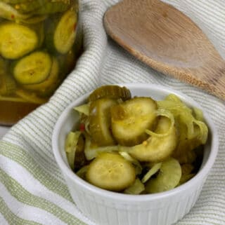 picy Bread & Butter Pickles in a white dish