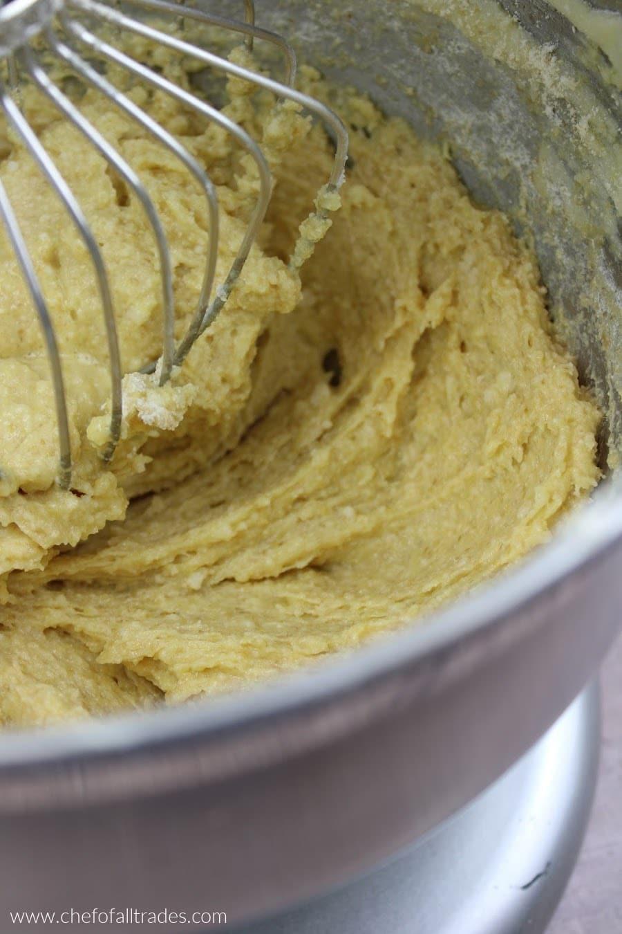 adding baking blend mixture to mixing bowl