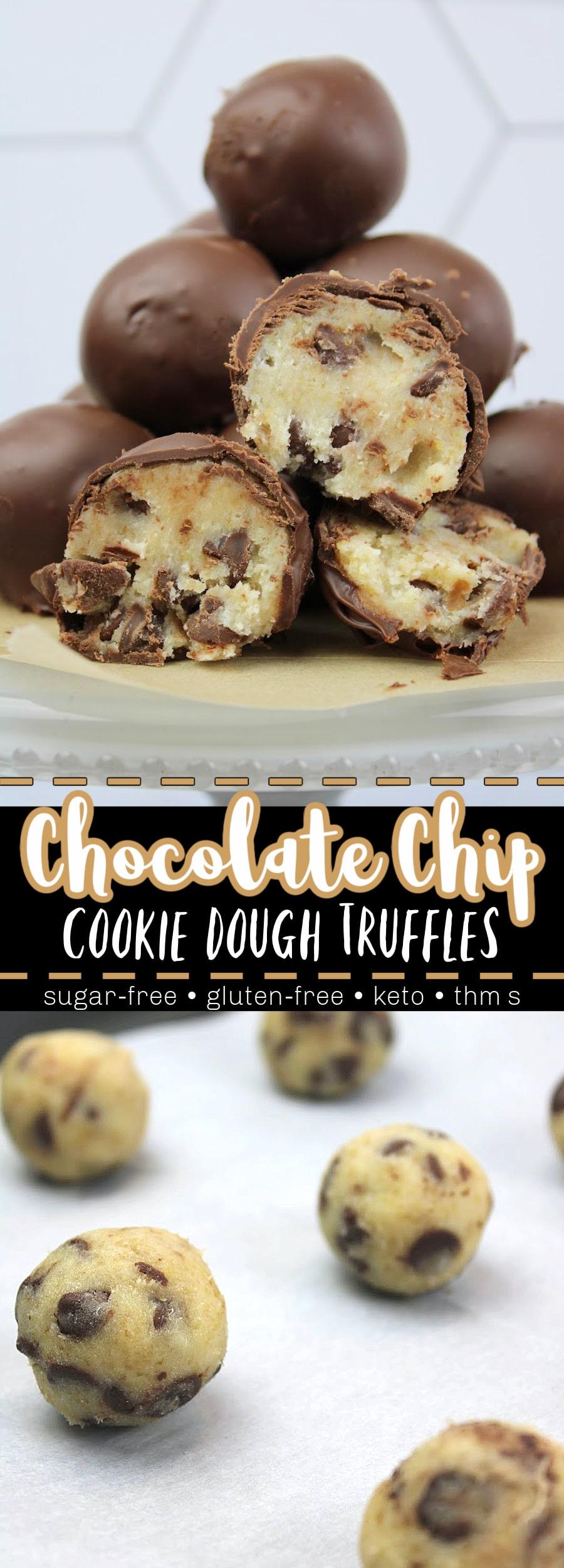 Chocolate Chip Cookie Dough Truffles (Sugar-Free) Pin Image