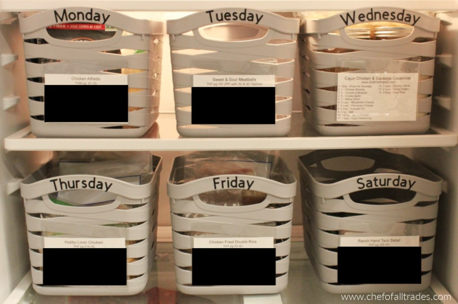 prepped meal baskets in the fridge