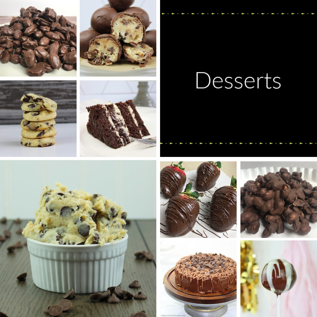 Collage of different sugar free dessert items