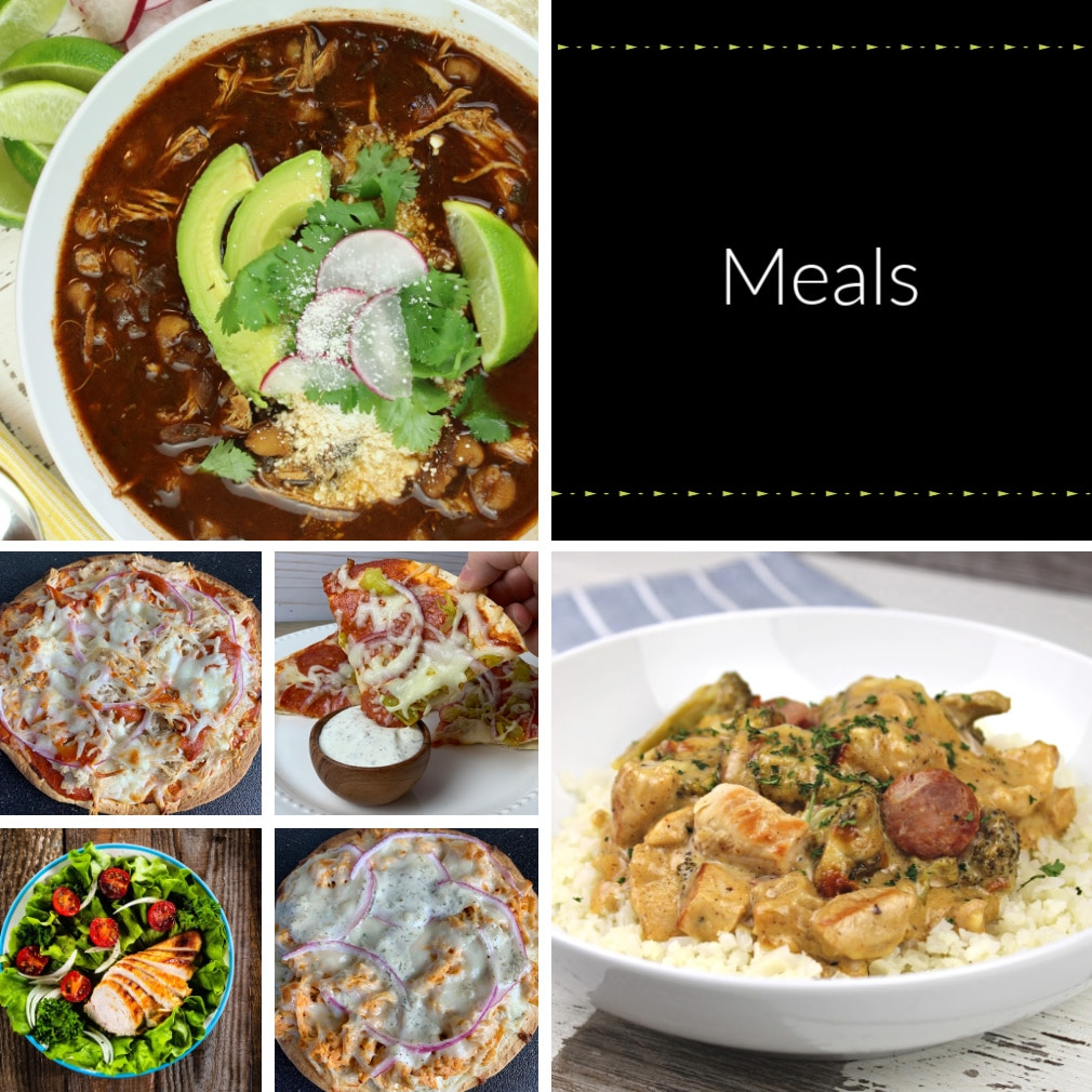 collage of sugar free meal recipes