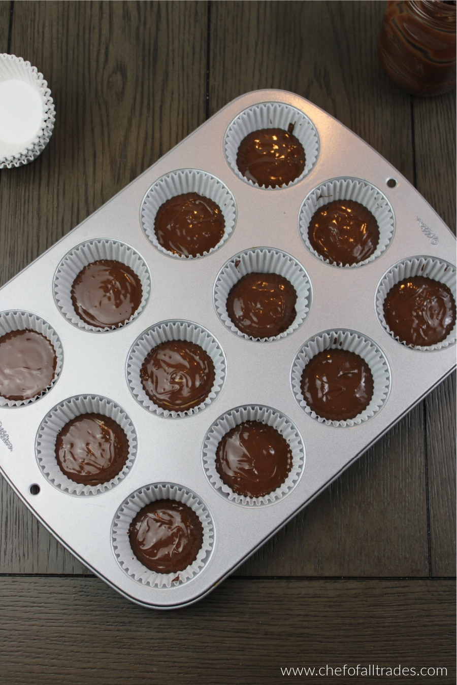 peanut butter topped with chocolate