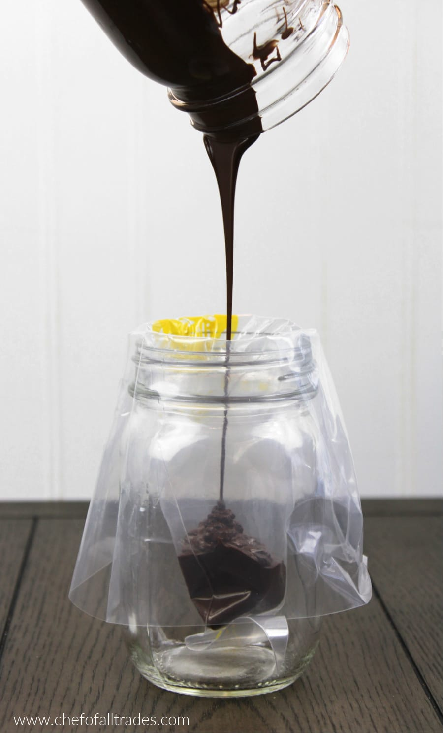 pouring chocolate in a piping bag